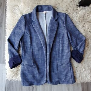 Skies Are Blue 3/4 Cuffed Sleeve Chambray Blazer